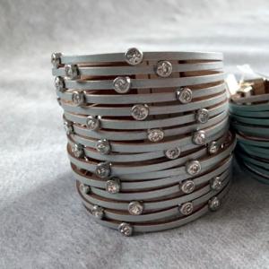 Leather Grey Bangle Bracelet - GRLash.com